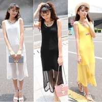 2014 summer women's nf193 casual fashion gauze twinset vest medium-long one-piece dress