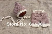 free shipping,Baby Infant Newborn Knit Costume Photography Prop elves Crochet Hat+ Pants 2pcs set