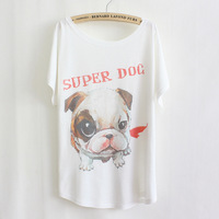 2014 new summer Causal Character Cotton Short Sleeved Plus Size pug print T shirt for Women Loose Shirt TS063-21