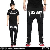 hip hop kanye yeezy harem pants drop crotch pants men 3XL slim fit sweatpants for men black jogger pants yeezus