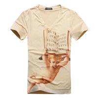 HOT SALE NEW man summer 2014 Men fashion elegant V-NECK short sleeve casual brand 3D anime slim fit t-shirt drop shipping BIG044