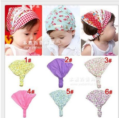 Retail Cute Baby Floral Printing Cotton Headband Children Girl Flower Bandanas Headscarf Ba