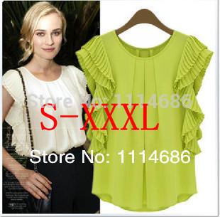 S - XXXL novo 2014 verão roupas femininas órgão Fold solto Casual blusa camisa Chiffon de manga curta(China (Mainland))