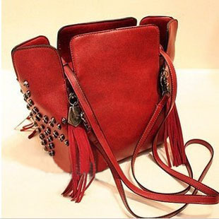2013 fashion handbags retro skull rivets tassel bag manufacturers Promotion Free Shipping(China (Mainland))