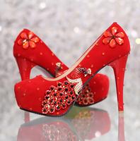 Free shipping  wedding  formal dress shoes women's high heels shoes red bridal femal  wedding shoes