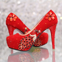 Free shipping  wedding  formal dress shoes women's high heels shoes red bridal femal  wedding shoes