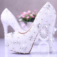 Free shipping women;s high heels platform shoes;white elegant wedding  women's  bridal shoes