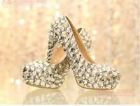 Free shipping women's high-heeled shoes rhinestone white princess crystal wedding  bridal shoes