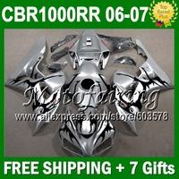 7gifts+Cowl  For HONDA CBR1000RR Black flames 06-07 CBR 1000RR CBR1000 RR 06 07 80JM1106 CBR 1000 RR 2006 2007 Siver Fairing