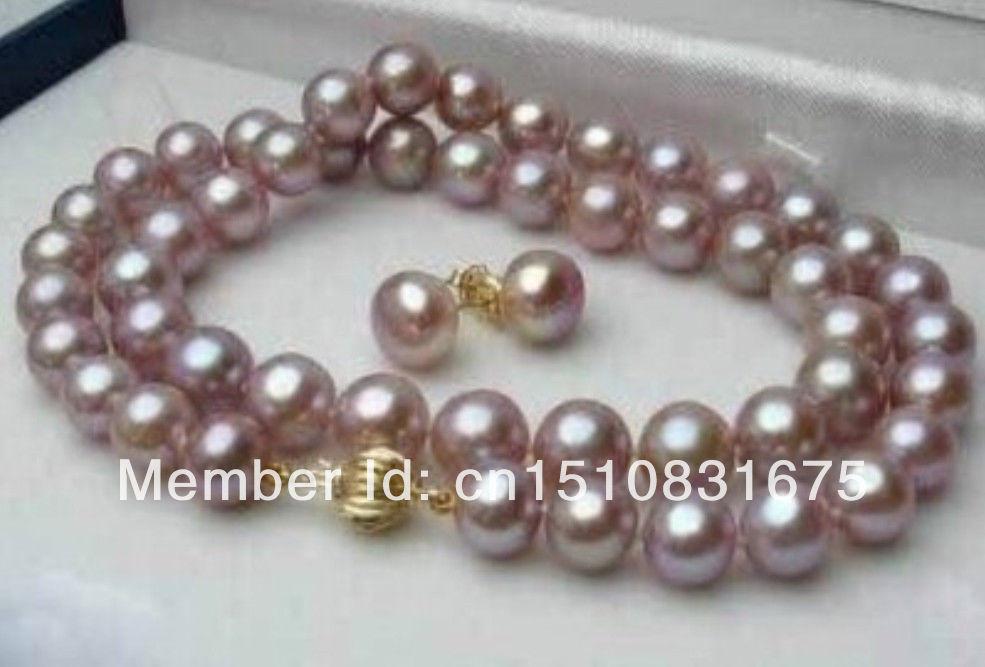 "8-9mm Purple Pink Akoya Cultured Pearl Necklace 17"" earringxu36(China (Mainland))"