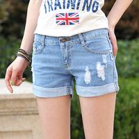 Denim shorts hole female plus size loose denim shorts women's summer shorts jeans