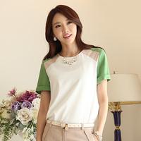 New 2014 women summer Chiffon base Blouse Splicing zippers OL Korea Fashion shirts loose plus size 2 color S-XL free shipping