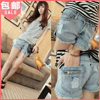 Spring fashion 2014 women's placketing vintage denim shorts hole female jeans