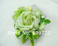 New Handmade Prom PU Boutonniere Wedding Decoration 10pcs Bride Artificial Rose Corsage Wrist Flower Green Bracelet Fl1380