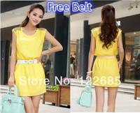 Upscale women chiffon one-piece dress new 2014 brand design spring & summer casual dress diamond-studded Knee-Length tank dress