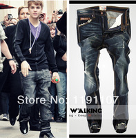 Hot sale Free Shipping Justin Bieber2014 New arrival 100% Cotton brand Jeans Men's fashion jeans Top-Quality pants for men MT108