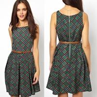 Free Shipping 2014 Europe Fashion Brand Women Dresses Green plaid Belt Sleeveless Big swing High Quality Dress S M L