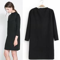 Free Shipping 2014 Europe Fashion Brand Women Dresses Stand neck Long Sleeve Back zipper Slim Package hip Dress Black S M L