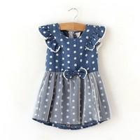 New! High Quality Summer Child girl  Soft Fashion Sweet Cute Baby girl Dress Cotton Casual Children Girl Dress   Kids Dress
