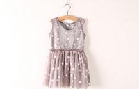 Y304765-38 New 2014 Summer Baby Girls Chiffon Dresses Princess Sleeveless Silver Dot Ruched Lolita Children's Clothing Lot