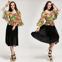 Lady Summer Chiffon Dresses New 2014 Fashion Irregular Loose Big Sleeve Dress Spring Summer Women's  Floral Dress With Belt