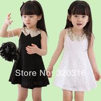Free shipping children's Chiffon dress sequins Collar dress,cute Black white kids dress,Wholesale price  TZ11A02