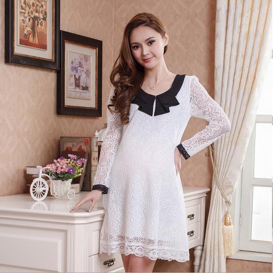 2014 primavera autunno moda plus size vestiti di maternità 2 colori abito in pizzo donne in gravidanza