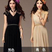 2014 Ladies Girl Cute Elegant Long Cocktail Party Collarless Slim Pleated Dress Chiffon Lace Casual High-waist Maxi Dress 654460