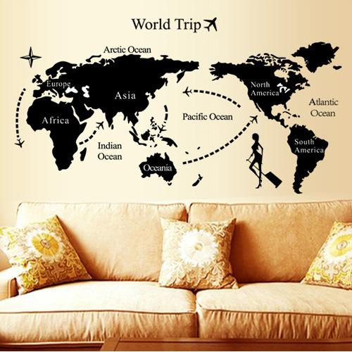 Universal travel wall stickers decoration world map big sticker(China (Mainland))