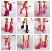 2014 Fashion girl dolls shoes 50pcs/lot high heels randomly sent free shipping wholesale