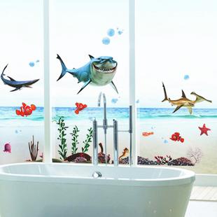 drei Generationen Wandaufkleber der Unterseite des Meer landschaft Unterwasser Landschaft fenster Kinderzimmer Bad
