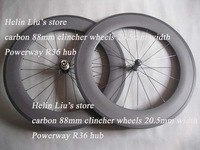 2014 New arrival 700c 88mm clincher road bike carbon wheel 20.5mm wide with Powerway R36 hub