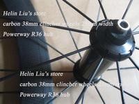 Straight pull Powerway R36 hub 700C full carbon 38mm clincher wheels 23mm width
