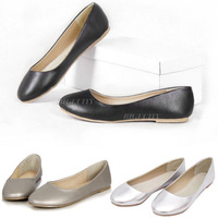 3x 2014 Spring New Womens Casual Round Toe Metallic Ballet Flat Slip Dolly Shoes Flats Asian size 37-41 3 Color