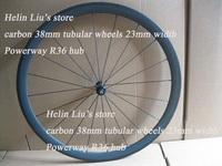2014 New design powerway R36 hub full carbon 38mm tubular wheels with 23mm width
