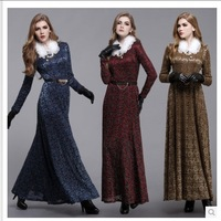 22014 New Women Thick Warm Winter Long Sleeve Slim Floor Length Dresses  Maxi Elgent Fur Collar  Dress S-3XL Free Shipping