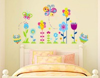 Removable paper for decor vinyl wall stickers on the Wall for kids rooms decals house Sticker Flower JM5116