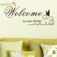 "25*60cm English Quotes ""WELCOME TO OUR HOME"" Vinyl Removable Half-Handmade Wall Stickers ZooYoo Original Wall Decals ZY8181"
