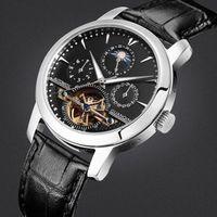 Luxury leather brand men mechanical watches sapphire Waterproof 100m fashion moon phase watch 24 hours classic retro wristwatch