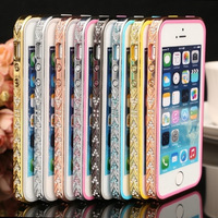 For iPhone 5s Gold Rhinestones Diamond Metal Frame For iPhone 5 5s Luxury Case Bumper