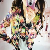 Spring print long-sleeve stand collar silk jacket thin outerwear female baseball uniform