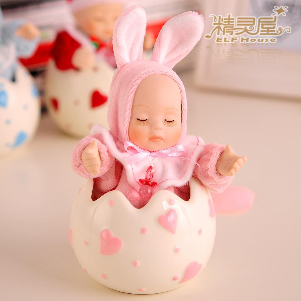 Presente de aniversário caixa de música boneca cabeça bobble caixa de música presentes namorada casamento mel criança(China (Mainland))