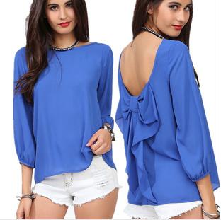 5605 Spring 2014 European Style Fashion Women Blouse And Summer Chiffon Loose Backless Bow Pattern Shirt Free Shipping(China (Mainland))