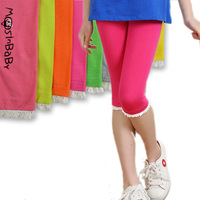 2014 new summer children's clothing large girls lace skinny pants capris 4T-14