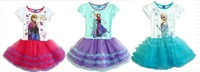 Hot sale 2-6yrs Girls' Frozen Dress kid's 2014 cartoon summer dress girl's tutu girl's princess dress 3 design