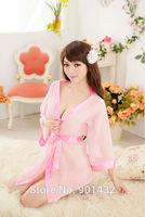 Free Shipping Women's Sexy Cardigans Bathrobe Mesh Babydoll Sleepwear CBH016