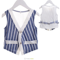 Wholesale New 2014 Baby Boys Girls Summer Blue Vests Children Fashion Classic Hot Striped Waistcoats Fit 2-6 Yrs Free Shipping