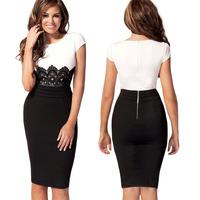 2014 Newest Womens Celeb Lace Contrast Evening Dress  Pencil Midi Bodycon Dresses Polka Waist Free shipping   E1387-30