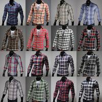 Free Shipping Hot sale New 2014 Man Brand shirts Fashion plaid design Casual Slim Fit Stylish Men's Dress Shirts