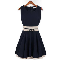 2014 New Summer Fashion Cute Women Chillon Mini Dresses Sleeveless Dress with Sashes, Pink, Navy Blue, M, L, XL
